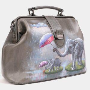 Вместительная серая сумка с росписью ATS-4020 229480