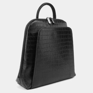 Удобный черный рюкзак кожаный ATS-4024