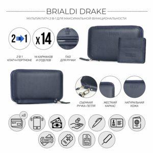Уникальный синий мужской портмоне клатч BRL-23098 228322