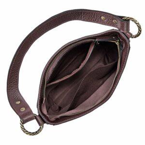 Уникальная бордовая женская сумка через плечо BRL-47545