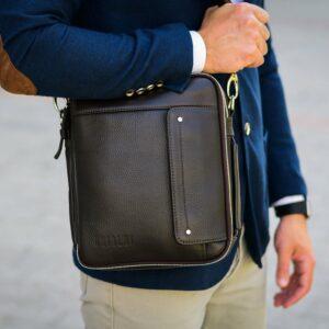 Кожаная коричневая мужская сумка через плечо BRL-19878 228229