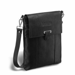 Стильная черная мужская сумка мессенджер BRL-27