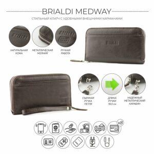 Кожаный коричневый мужской портмоне клатч BRL-28537 228559