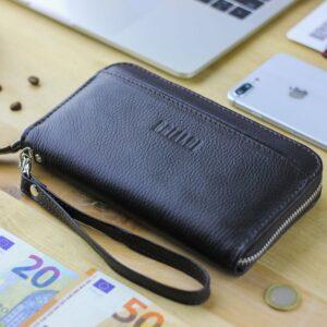 Кожаный коричневый мужской портмоне клатч BRL-28537 228561