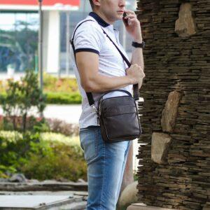 Удобная коричневая мужская сумка через плечо BRL-34400 228954