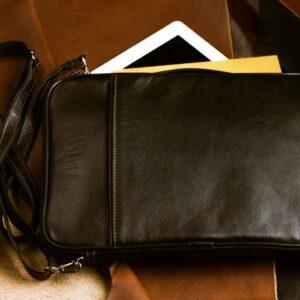 Кожаная черная мужская сумка мессенджер BRL-1022 229376