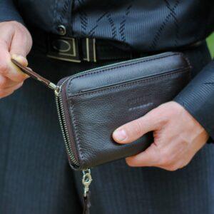 Кожаный коричневый мужской портмоне клатч BRL-28537 228567