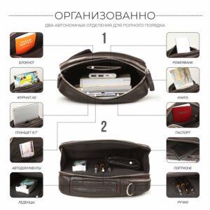 Кожаная коричневая мужская сумка через плечо BRL-19878 228234