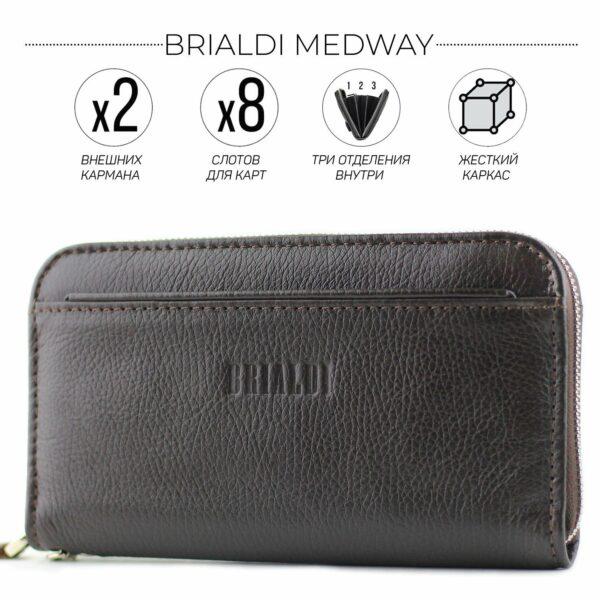 Кожаный коричневый мужской портмоне клатч BRL-28537