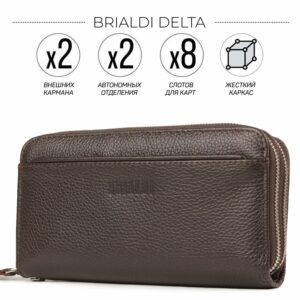 Кожаный коричневый мужской портмоне клатч BRL-32920