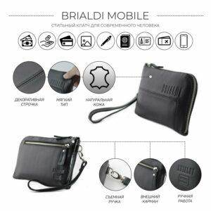 Кожаный черный мужской портмоне клатч BRL-1516 227570