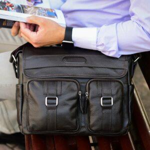 Удобная коричневая мужская сумка через плечо BRL-12996 227193