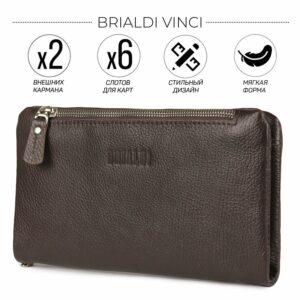 Кожаный коричневый мужской портмоне клатч BRL-32928