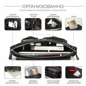 Стильная черная мужская сумка через плечо BRL-12995 227161