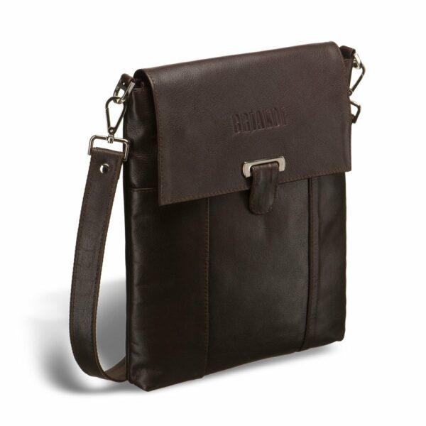 Уникальная коричневая мужская сумка мессенджер BRL-132