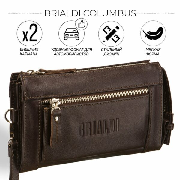 Неповторимый коричневый мужской портмоне клатч BRL-8403