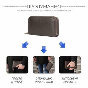 Неповторимый коричневый мужской портмоне клатч BRL-44371 229173