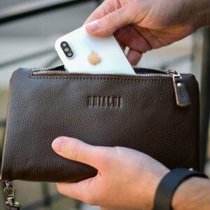 Кожаный коричневый мужской портмоне клатч BRL-32928 228821