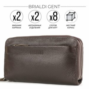 Стильный коричневый мужской портмоне клатч BRL-32922