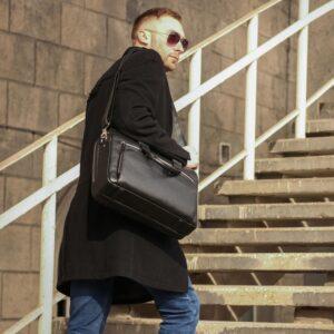 Кожаный черный мужской портфель деловой BRL-44548 227281