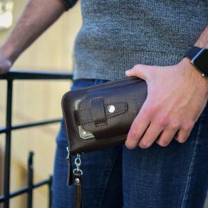 Кожаный коричневый мужской портмоне клатч BRL-32934 228861