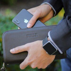 Солидный коричневый мужской портмоне клатч BRL-26739 228431