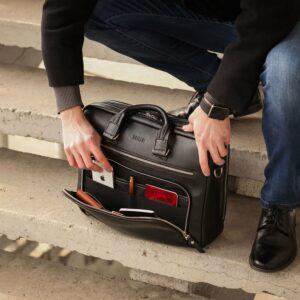 Кожаный черный мужской портфель деловой BRL-44548 227283