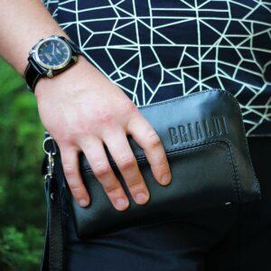 Кожаный черный мужской портмоне клатч BRL-1516 227577