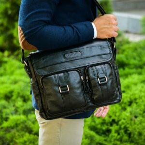 Стильная черная мужская сумка через плечо BRL-12995 227154