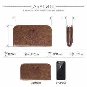 Деловой темно-оранжевый мужской портмоне клатч BRL-26740