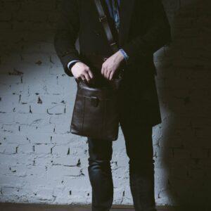 Уникальная коричневая мужская сумка мессенджер BRL-132 227388