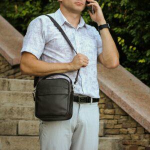 Удобная коричневая мужская сумка через плечо BRL-34400 228947