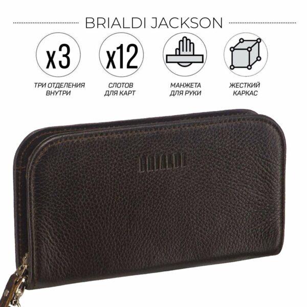 Солидный коричневый мужской портмоне клатч BRL-26739