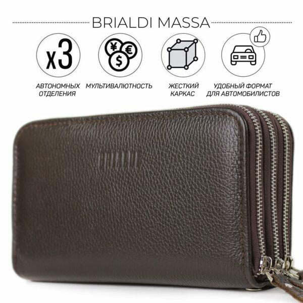 Удобный коричневый мужской портмоне клатч BRL-23059