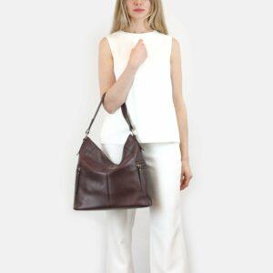 Деловая бордовая женская сумка через плечо BRL-47450 229795