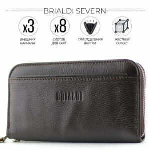 Деловой коричневый мужской портмоне клатч BRL-28615