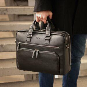 Кожаный черный мужской портфель деловой BRL-44548 227277