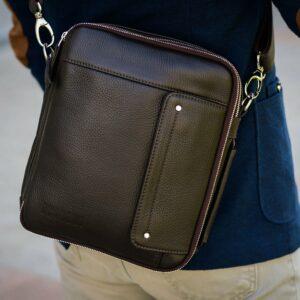 Кожаная коричневая мужская сумка через плечо BRL-19878 228231