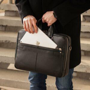Кожаный черный мужской портфель деловой BRL-44548 227285