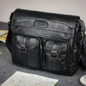 Стильная черная мужская сумка через плечо BRL-12995 227160