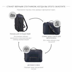 Функциональная синяя мужская сумка для документов BRL-23146 234951