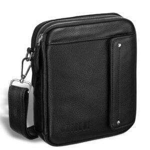 Кожаная черная мужская сумка мессенджер BRL-19879 234589