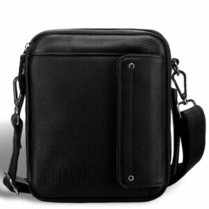 Кожаная черная мужская сумка мессенджер BRL-19879 234598