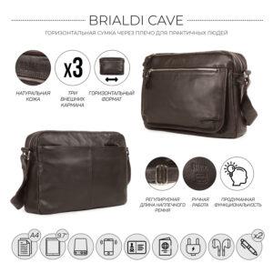 Вместительная коричневая мужская сумка через плечо BRL-19858 234463