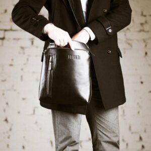 Функциональная черная мужская сумка через плечо BRL-1518 233551