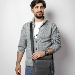 Кожаная серая мужская сумка через плечо FBR-1720 235849