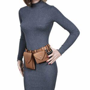 Вместительная темно-оранжевая женская поясная сумка FBR-2454 236559
