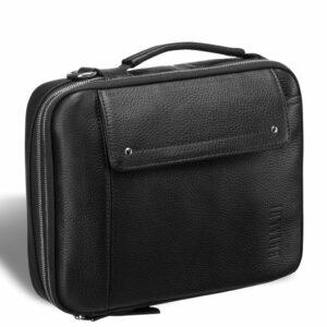 Кожаная черная мужская сумка мессенджер BRL-19879