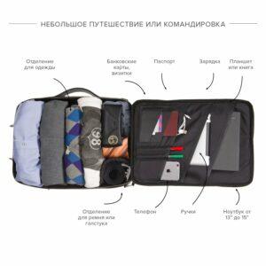 Функциональная черная мужская деловая сумка трансформер BRL-23143 234935
