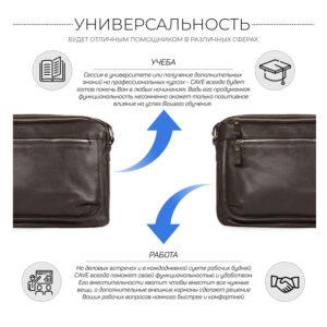 Вместительная коричневая мужская сумка через плечо BRL-19858 234470